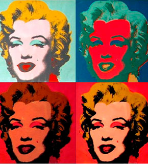 Pop art de Andy Warhol sobre foto de Marilyn Monroe